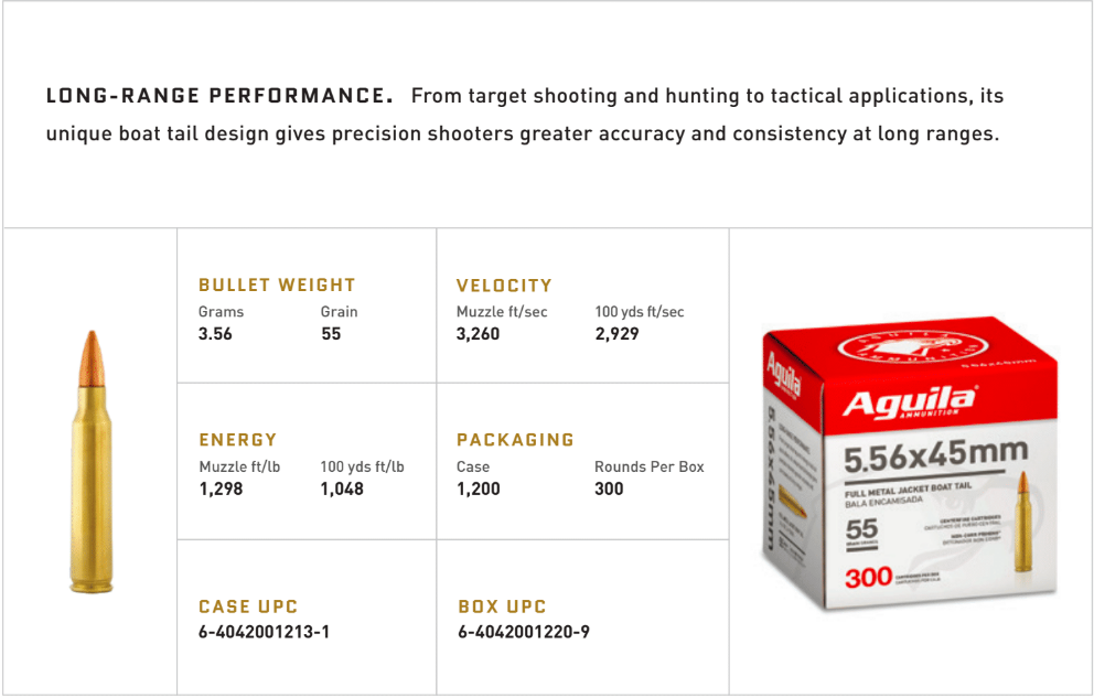 Image of Aguila Ammunition 5.56 rifle ammo specs.